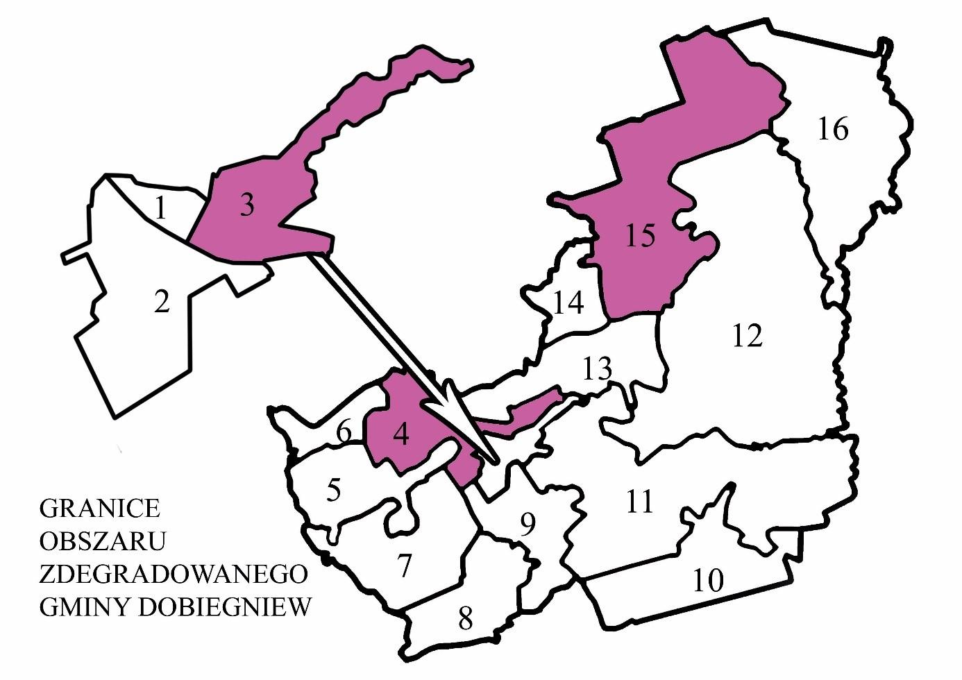Granice obszaru zdegradowanego gminy Dobiegniew