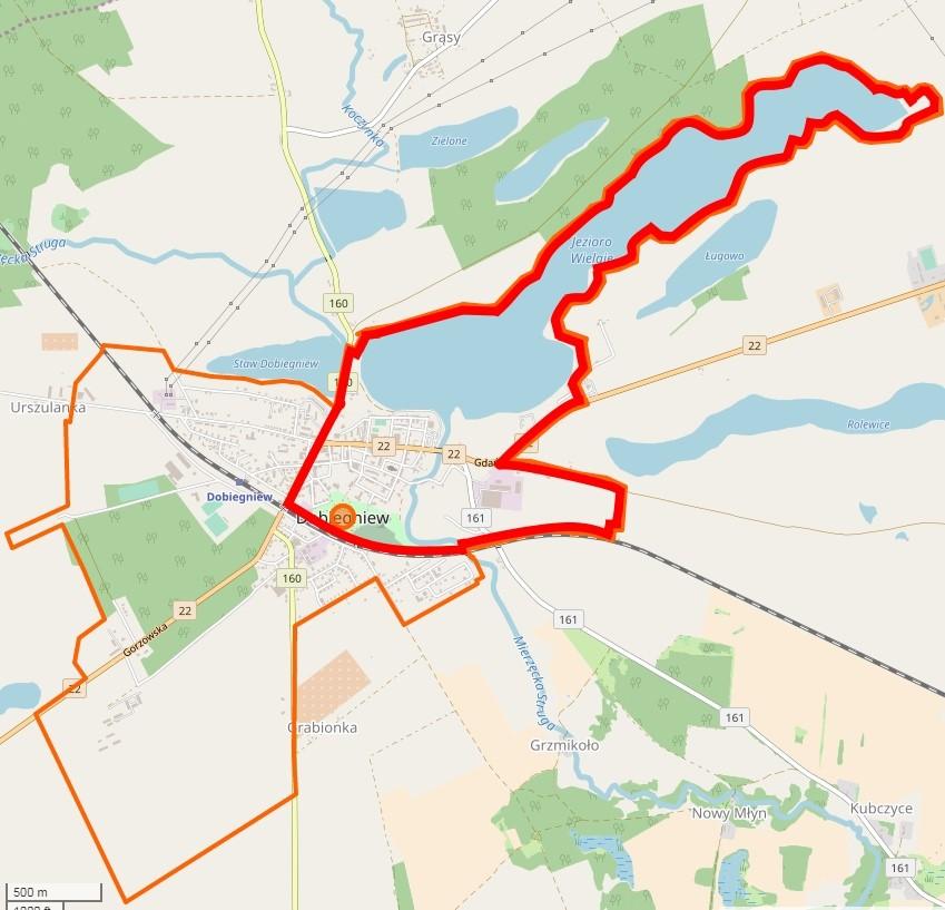 Mapa  Granice obszaru rewitalizacji Gminy Dobiegniew