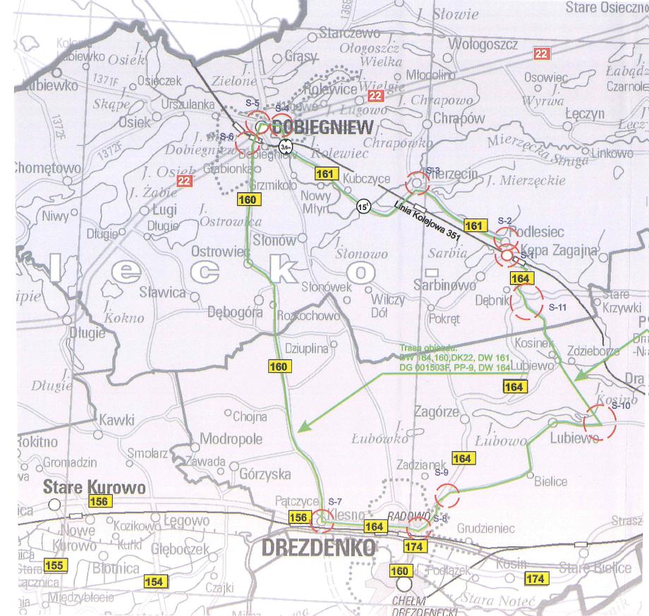 mapka przedstawia zmianę organizacji ruchu